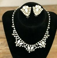 Vintage Milk Glass and Rhinestone Necklace and Clip On Earring Set circa 1950's