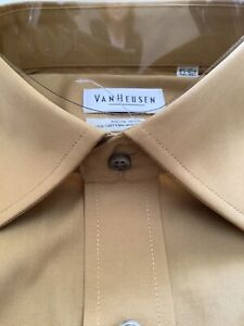 Van Heusen Mans Shirt. Collar Size 16.5. Dark Mustard Yellow.Cotton Mix Non Iron