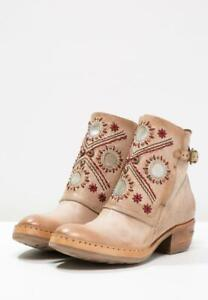 AS 98 Women Leather Low Ankle Beige Boots 37