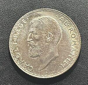 Romania 1910 One Leu Silver Coin: Carol I