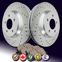 Z0511 FIT 2007 2008 Hyundai Tucson FWD 2WD REAR Drilled Brake Rotors Ceramic Pad