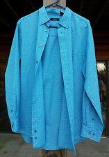 Cezani Button Front Shirt Rayon Polyester Blue Long Sleeve Dress Casual Wear M