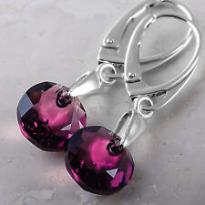 925 Sterling Silver Dangle Earrings Classic Cut Clear Crystals From Swarovski®