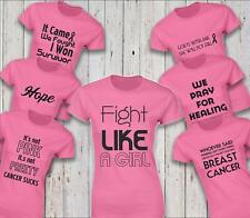 Breast Cancer Awareness Pink Ribbon Ladies Top Tee Womens Loose Fit Tshirt