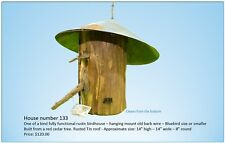 Birdhouse House - Handmade Red Cedar One-of-a-Kind w/ Old Tin Roof & Barb Wire
