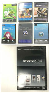 SERIF Software Lot of 7 Variety Some with Keys Studio Draw Movie Web