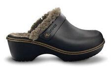 New Crocs Women's Cobbler Eva Fur Lined Clog, Black/Walnut, Standard Fit Size 11