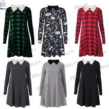 New Peter Pan Womens Swing Dress Collar Long Sleeve Jersey Skater top Dress 8-22