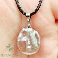 19x17mm Multi-Color Baroque Pearl Pendant Necklace 18 inches Chic Hang Flawless