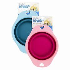 Richiudibile viaggio ciotola Cane acqua cibo Rosa/Blu Animale domestico