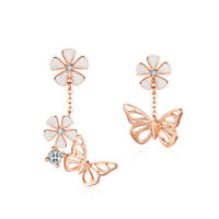 BBisaer Authentic 925 Sterling Silver Forest Series-Butterfly Earrings For Women