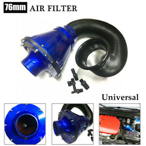 1×Universal Air Power Intake Bellows Filter Car High Flow Cold Air Inlet Cleaner