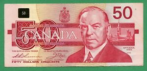** FHM ** Harder to find ** 1988 Canada 50 dollar Fifty dollars Thiessen Crow