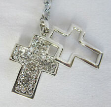 6 x Diamante Metal Cross 2in1 Keyring Christening Baptism Communion  Bomboniere
