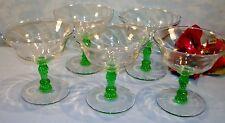 Set of 5 Green Stem Depression Glass Champagne Glasses