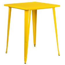 """31.5"""" Square Industrial Style Yellow Metal Indoor & Outdoor Restaurant Bar Table"""