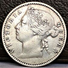 Straits Settlements 10 Cents 1883 Queen Victoria Silver XF Rare Coin