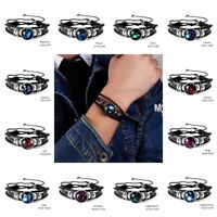12 Constellation Zodiac Leather Bracelets Bangle Charm Unisex Retro Jewelry Gift