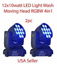 LOT DJ 12x10w LED WASH MOVING HEAD LIGHTS RGBW 4COLORDMX512 STAGE PARTY SHOW 2PC