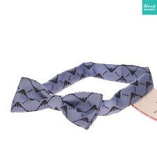 Armani Baby Silk Bow Tie Size M Two Tone Printed Logo Made in Italy