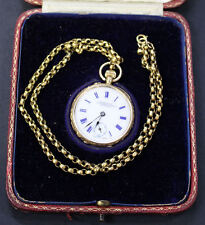 ANTIQUE BAUME & MERCIER SWISS C1910 SOLID 18K GOLD POCKET WATCH + BOX & CHAIN