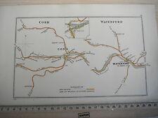 WATERFORD KILMACOW KILMEADAN CORK BLARNEY WATERFALL R LEE IRISH RAILWAY MAP 1928