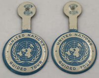 United Nations Guided Tour Button Lot Of 2 Vintage Original Badge Pair 20-1781