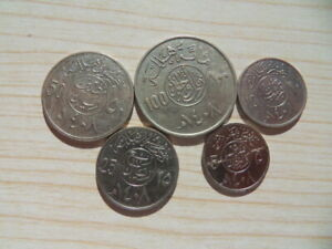 1408 1987-1988 Saudi Arabia Circulating Coins,5 Pcs,complete set