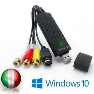 TechSide Convertitore VHS Analogico Digitale 2021 Windows 10 Usb 2.0 Capture