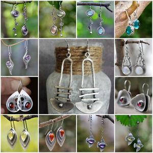 Fashion 925 Silver Turquoise Earrings Ear Hook Women Wedding Drop Dangle Jewelry