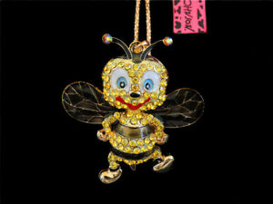 Betsey Johnson Yellow Crystal Enamel Cartoon Honeybee Pendant Sweater Necklace