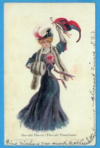 University Of Pennsylvania, Lady Waves Penn Pennant Glitter, Postcard