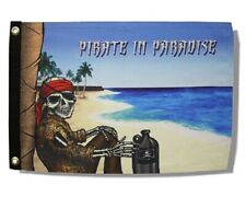"""Pirate In Paradise 12"""" x 18"""" Two Sided Durable Flag Home Boat Motorcycle"""