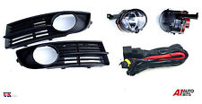 VW TOURAN 03-06 FOG LIGHTS LAMPS AND BUMPER GRILLES L & R + WIRING KIT SET