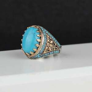 925 Sterling Silver Handmade Engraved Turquoise Stone Silver Ring For Men's