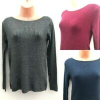 Ex M&S Slash Neck Fine Knit Jumper Size 10 12 24 Navy, Red, Grey Free Postage