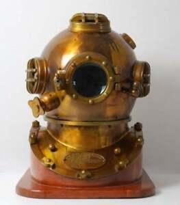 Mark V Divers Diving Helmet Antique Brass & Iron U.S Navy with Wooden Base