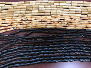 """550+ PCS ASSORTED WHITE BROWN CARVED PIPE TUBE BUFFALO BONE BEADS 1"""""""