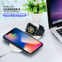 NEW 2 in 1Wireless Fast Charger Stand-Dock Foldable For Samsung iWatch iPhone