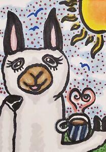 ACEO Coffee Alpaca Art Print 2.5 x 3.5 by Artist KSams Animal Llama