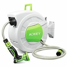 Hose Reel, Wall Mounted Garden Hose Reel with 20M + 2M Hose Any Length