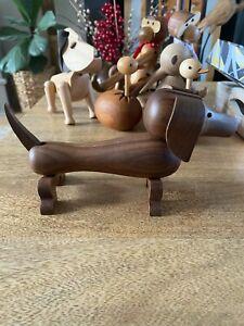 Quality Genuine Walnut Wood Sausage Dog - Super Cute - Decoration, Figurine