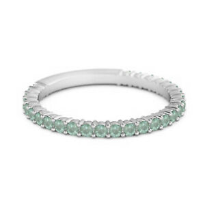 925 Sterling Silver Stacking Ring 0.60 Ct Emerald Eternity Raquel