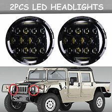Round 150W Total LED H4 Projector Headlights Hi/Low Beam Bright For Hummer H1 H2