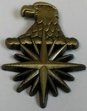 "CIA Eagle Head 3D Compass Star 1"" Tall Antique Brass Hat / Lapel Pin / Tie Tack"