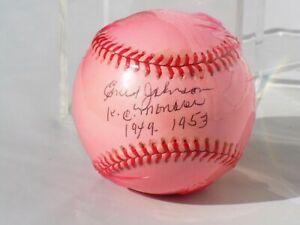 Ernest Johnson Negro League KC Monarchs Autographed Ball w/ Inscriptions