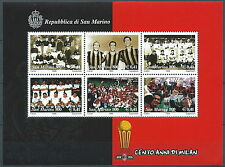 1999 SAN MARINO FOGLIETTO CENTO ANNI MILAN CALCIO MNH ** - ED