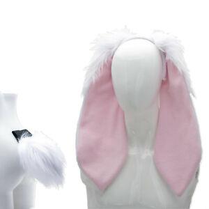 PAWSTAR Floppy Bunny Ear & Tail Set - furry rabbit costume halloween[CLA WH]4065