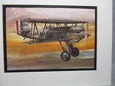 Curtiss F6C Biplane  Model Airplane Box Top Art Color  artist older aircraft
