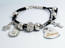 Genuine Braided Leather Charm Bracelet With Name - BIANCA - Gifts for her